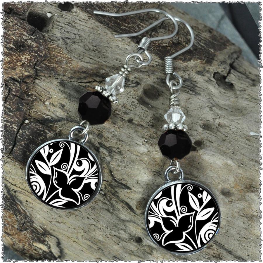 Flower Black Crystal Circular Earrings