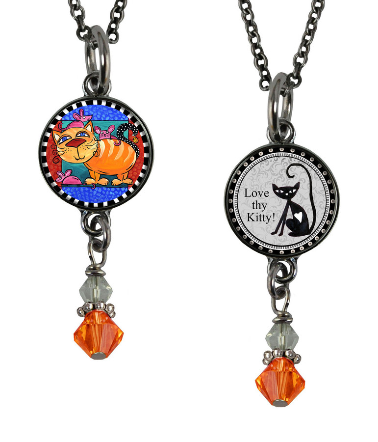 Cat & Mouse Small Circular Reversible Beaded Pendant