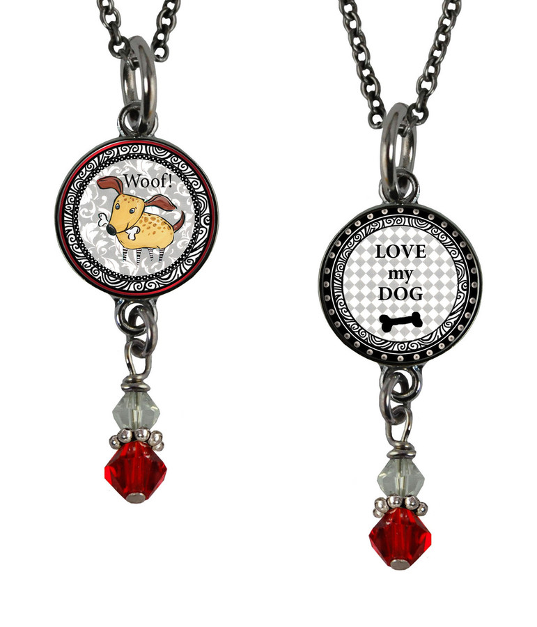 Dog Small Circular Reversible Beaded Pendant
