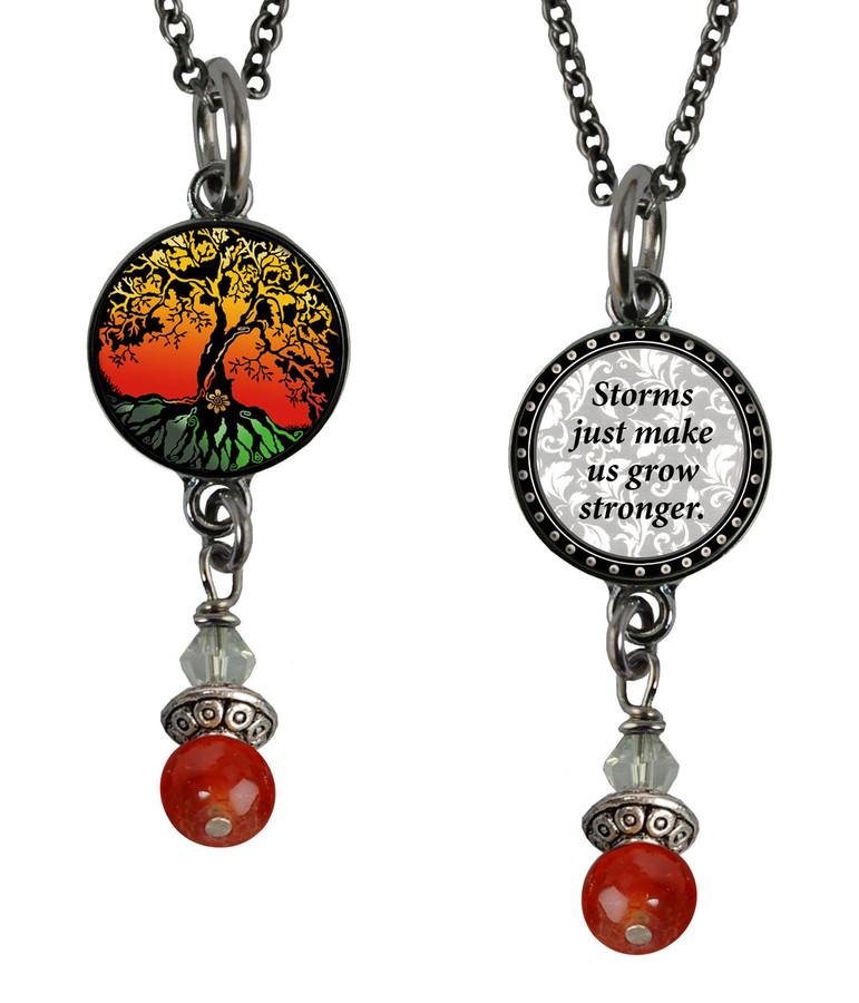 Tree of Life Color Small Circular Reversible Beaded Pendant