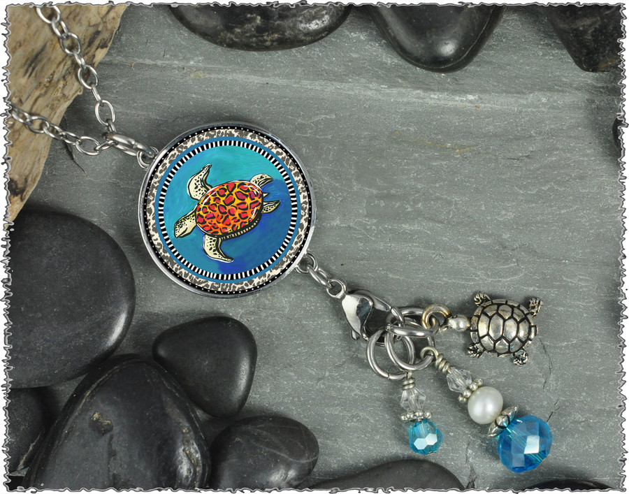 Blue Turtle Reversible Circular Charm and Bead Pendant