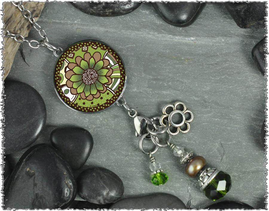 Green Brown Flower Reversible Circular Charm and Bead Pendant