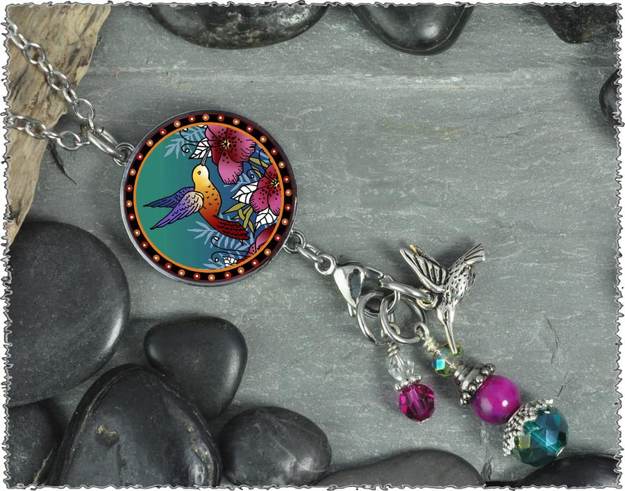 Hummingbird Reversible Circular Charm and Bead Pendant