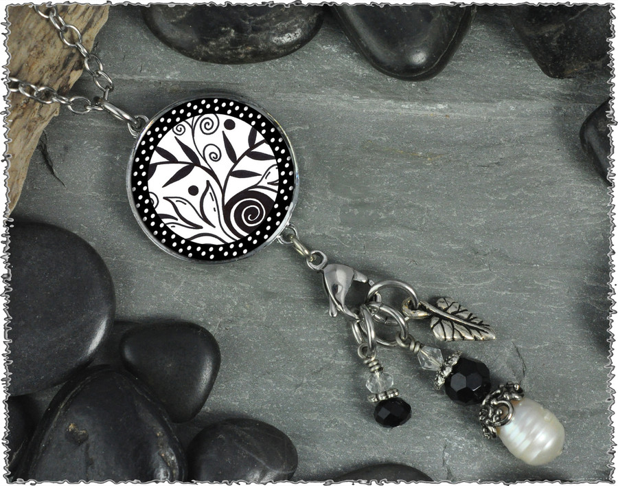 Leaf Flower Black White Reversible Circular Charm and Bead Pendant