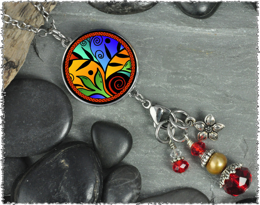 Leaf Flower Color Reversible Circular Charm and Bead Pendant