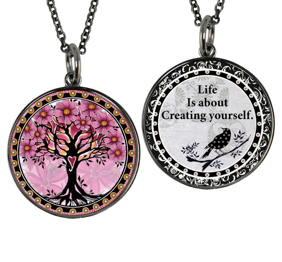 Tree of Life Pink Reversible Circular Pendant