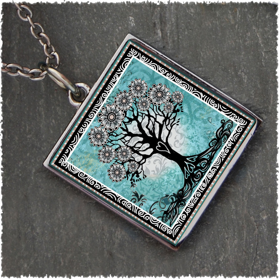 Tree of Life Teal Reversible Square Pendant