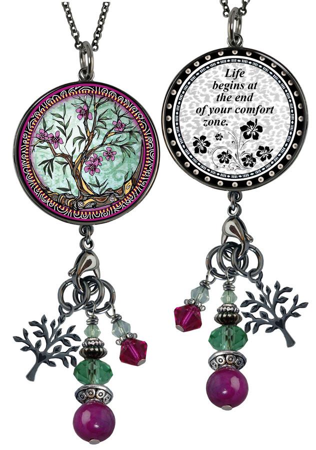 Tree of Life Fusia Reversible Circular Charm & Bead Pendant