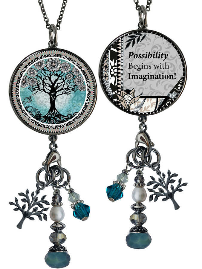 Tree of Life Teal Reversible Circular Charm & Bead Pendant