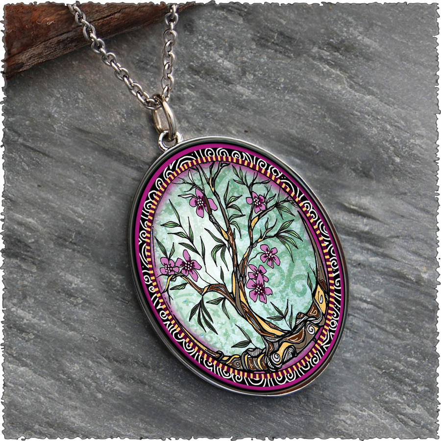 Tree of Life Fusia Reversible Silver Oval Pendant