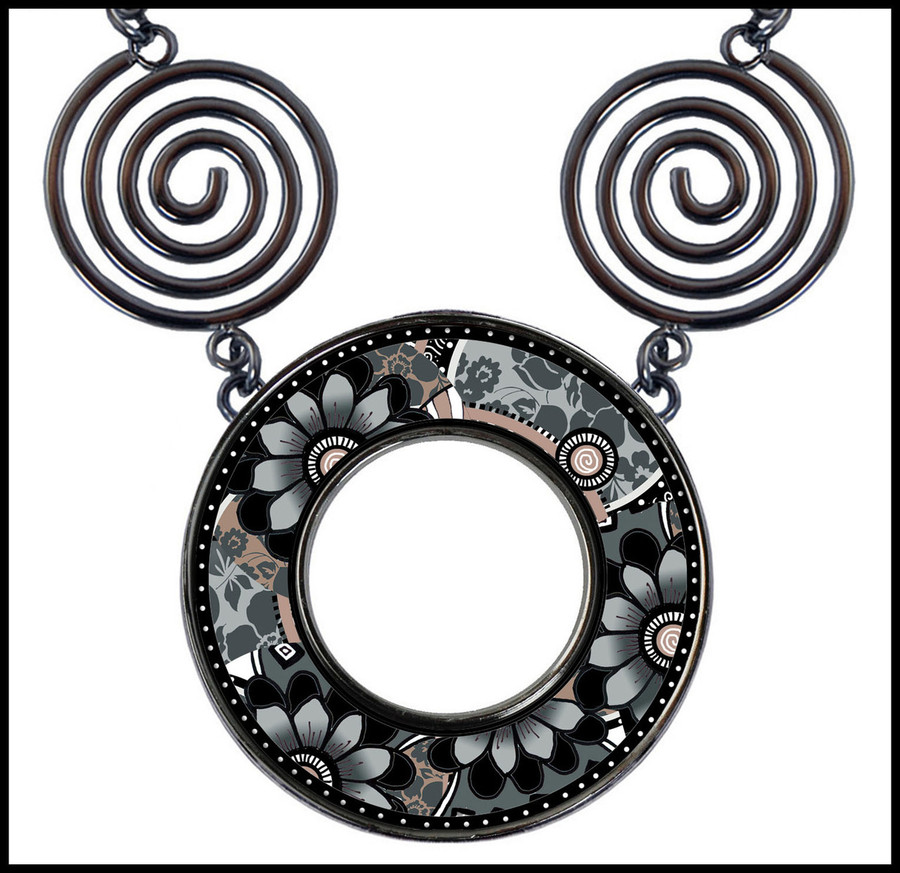 Gray Black Flower Circle Spiral Necklace