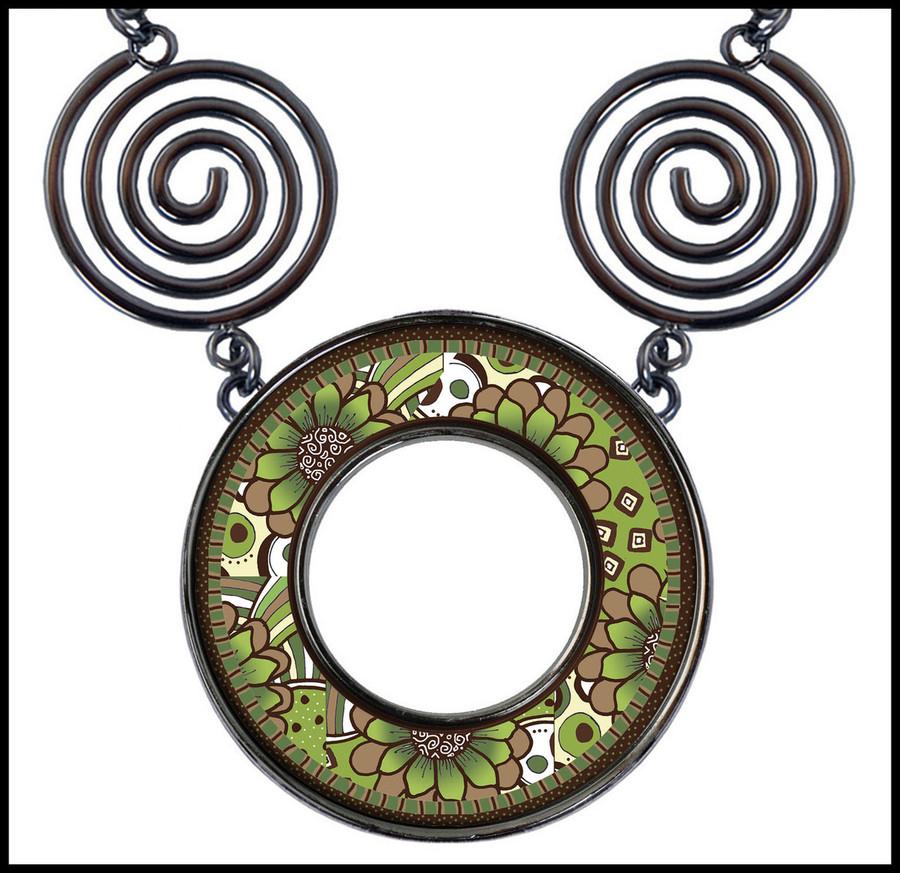 Green Brown Flower Circle Spiral Necklace