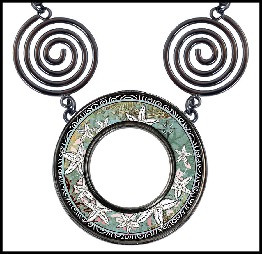 Starfish Circle Spiral Necklace