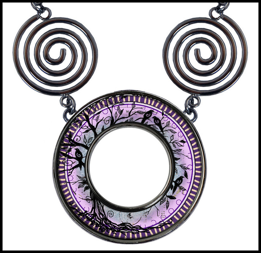 Tree of Life Purple Circle Spiral Necklace