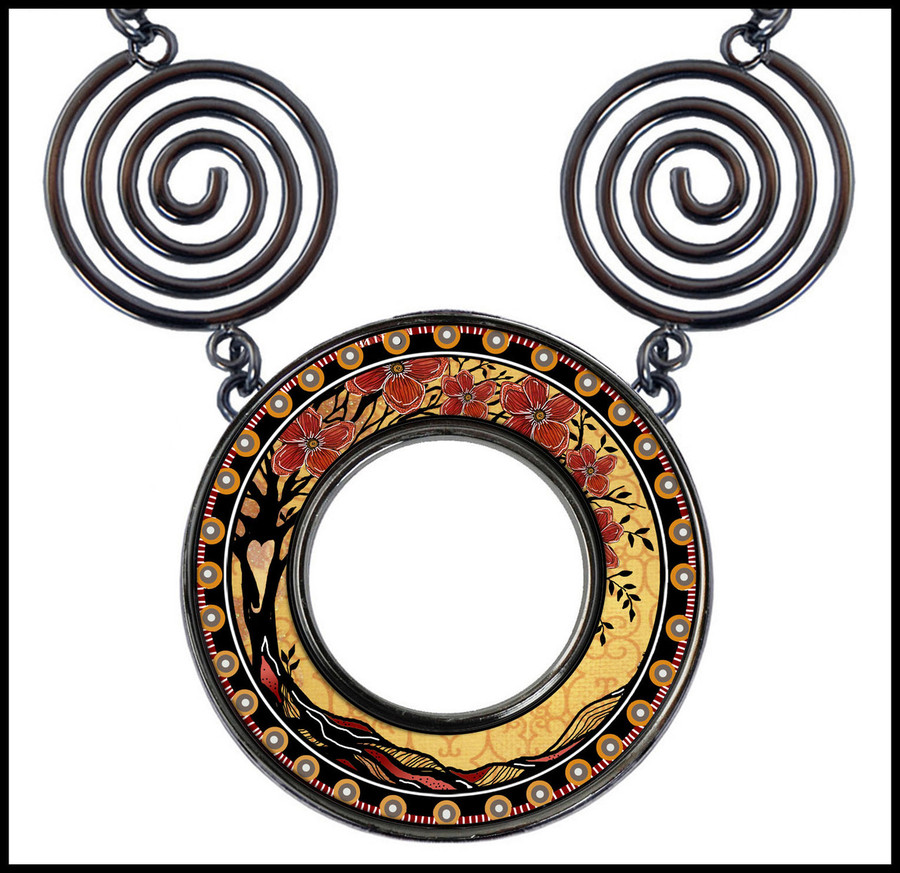 Tree of Llife Yellow Circle Spiral Necklace