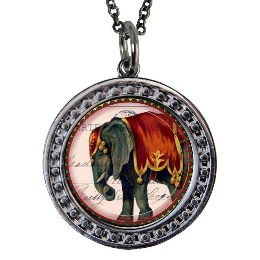 "Elephant Circular Reversible Vintage ""Leaf"" Pendant"
