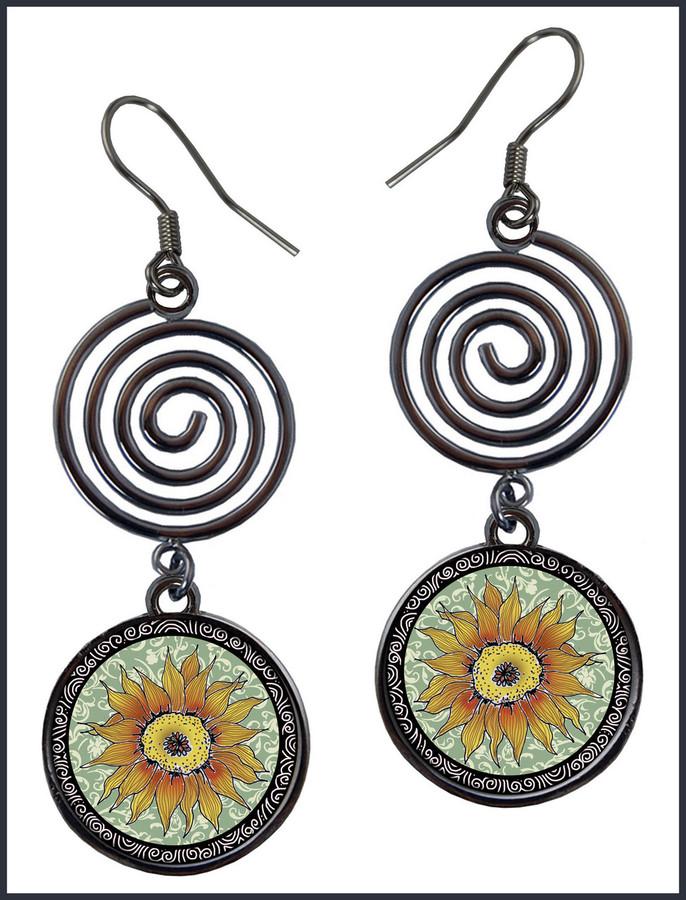 Sunflower Green Circle Spiral Earrings