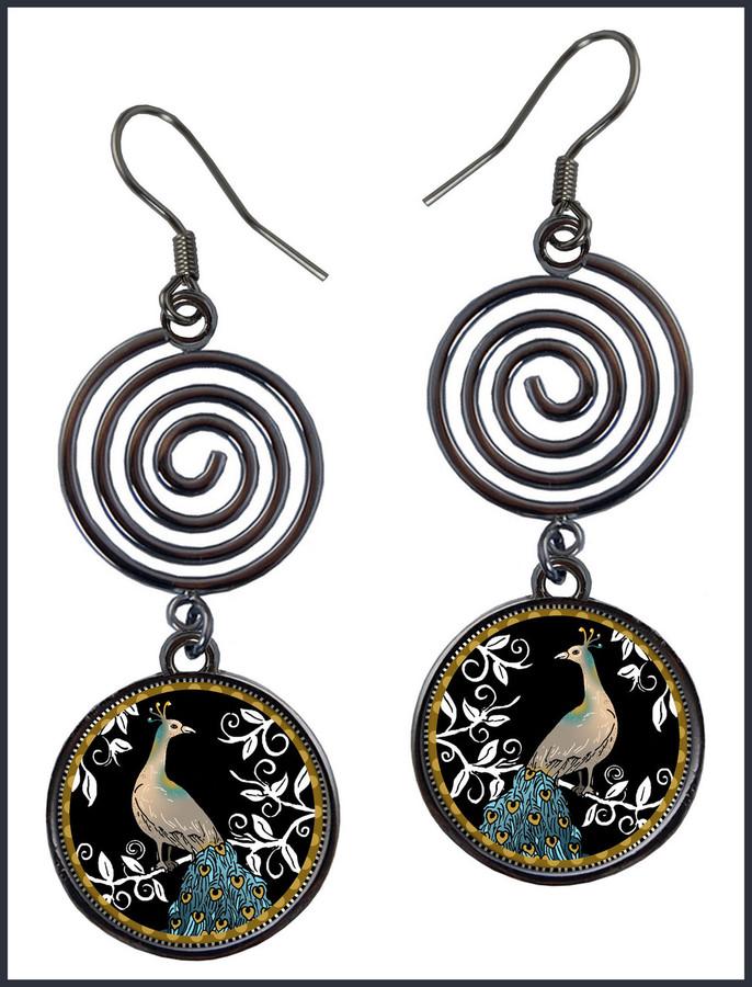 Peacock Black Circle Spiral Earrings