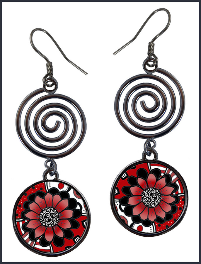 Black White Red Flower Circle Spiral Earrings