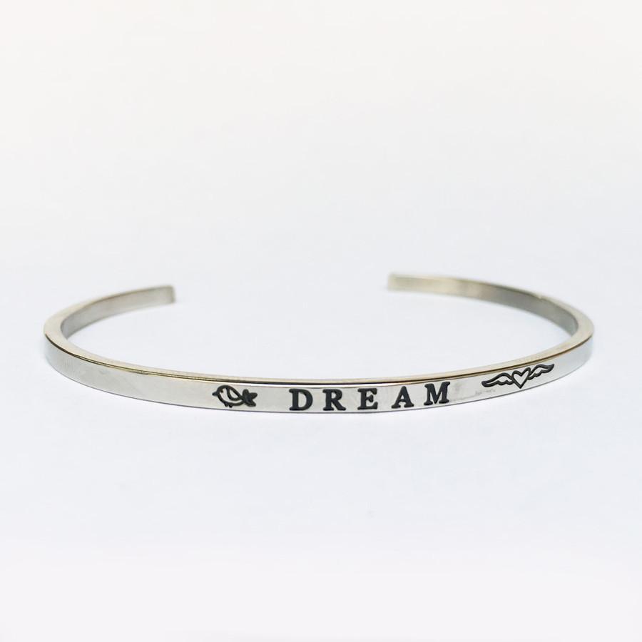 """DREAM"" Stainless Steel Cuff Bracelet"
