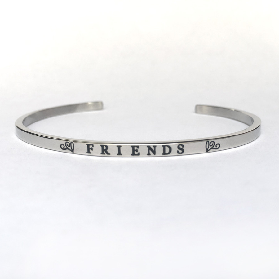 """FRIENDS"" Stainless Steel Cuff Bracelet"