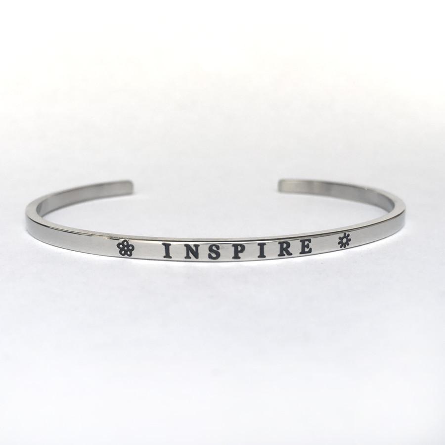 """INSPIRE"" Stainless Steel Cuff Bracelet"