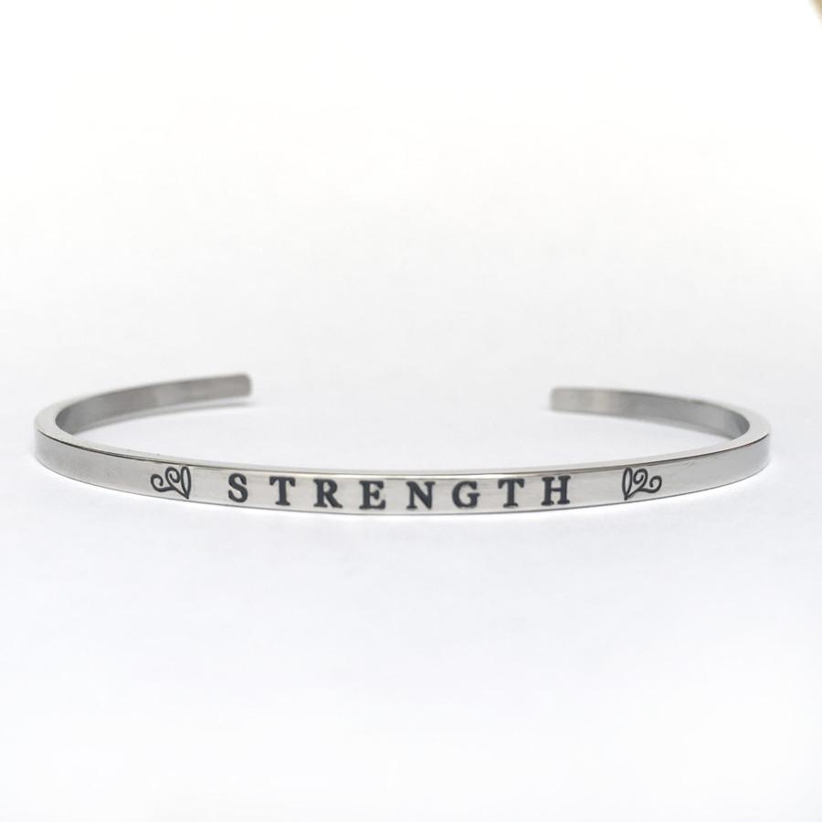 """STRENGTH"" Stainless Steel Cuff Bracelet"