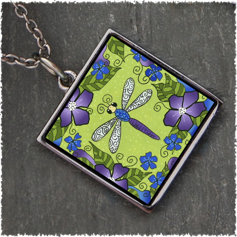 Dragonfly Flowers Reversible Square Pendant