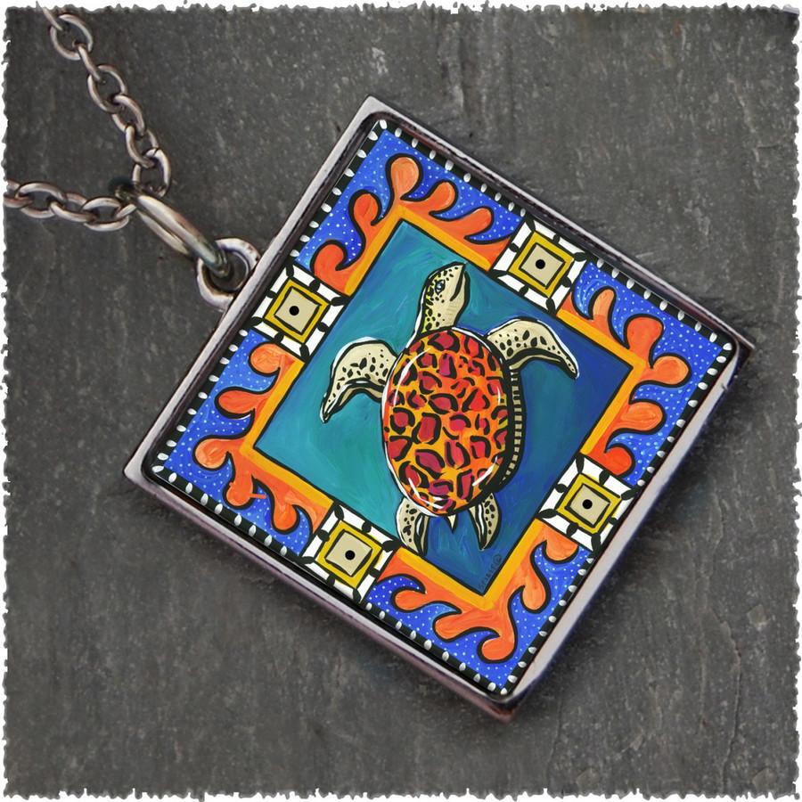 Blue Sea Turtle Square Reversible Pendant