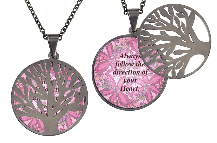 Poetry Tree - Always Follow The Direction Of Your Heart - Pink Background Stainless Steel Tree of Life on hinge.  Stainless Steel Chain