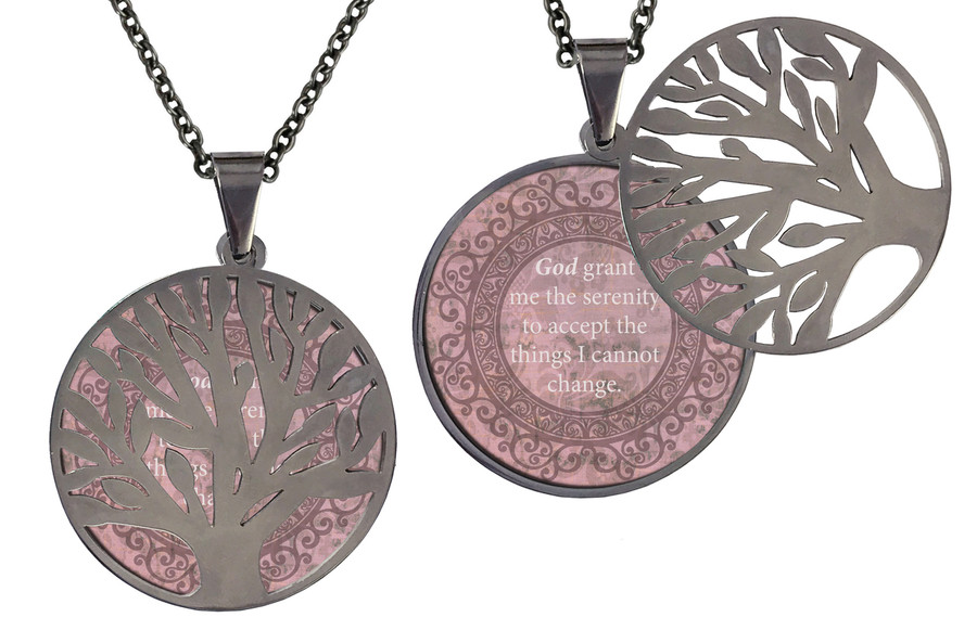"""Poetry Tree - Light Pink Background - God Grant Me The Serenity To Accept The Things I Cannot Change. Stainless Steel Tree of Life on Stainless Steel Chain. Nice Quality Substantial Weight. 28"""" Regular Stainless Steel Chain W- 1 1/8, H- 1 1/8, D- 1/8"""" (thick)"""