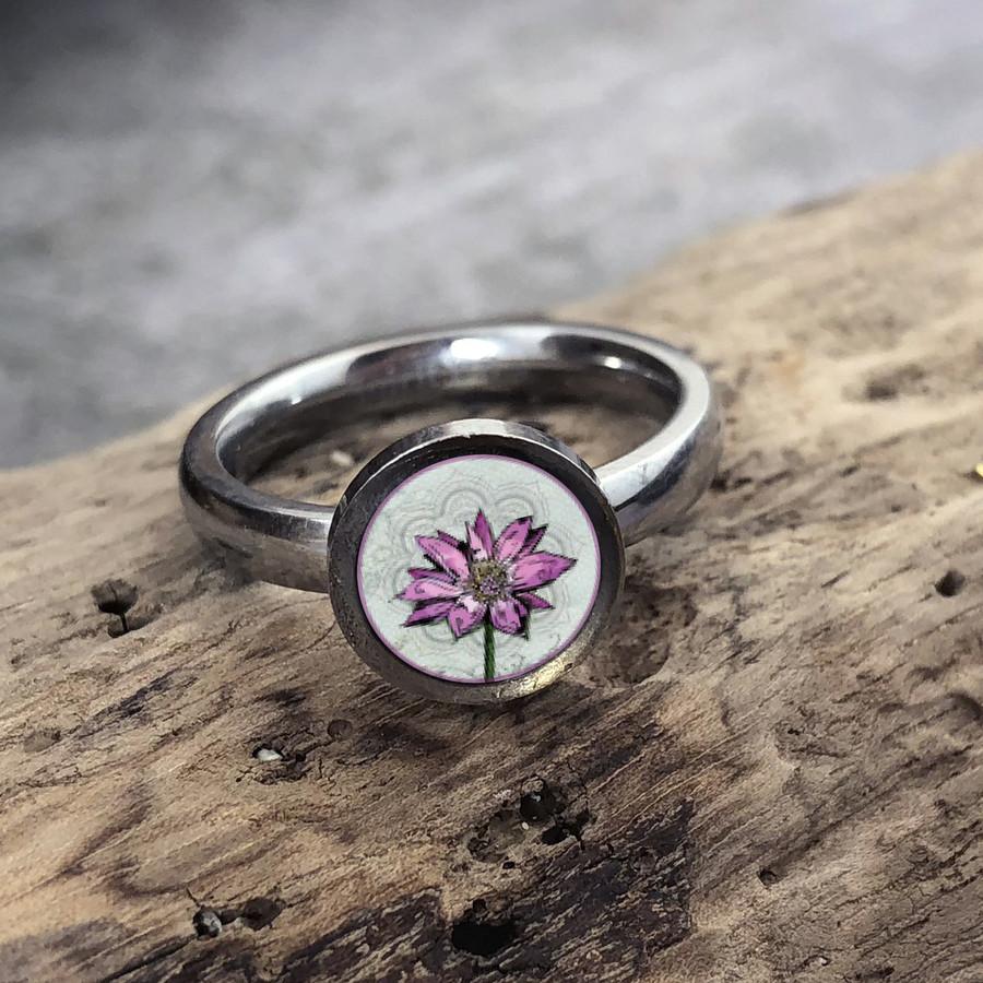 Lotus Stainless Art Ring