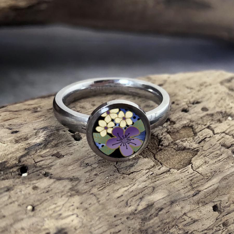 Purple Flower Stainless Art Ring