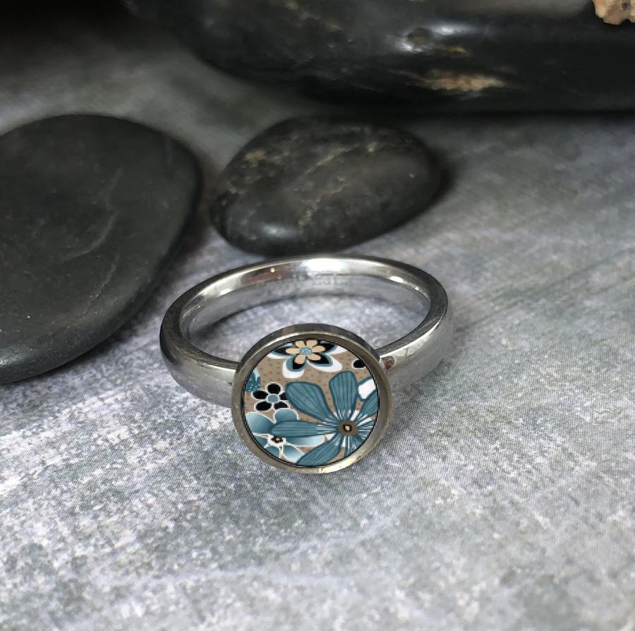 Teal Flower Stainless Art Ring