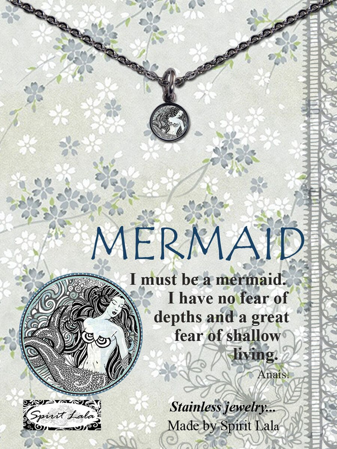 Carded B/W Mermaid Small Circle Necklace