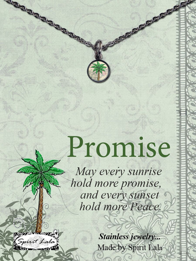 Carded Palm Tree Small Circle Necklace