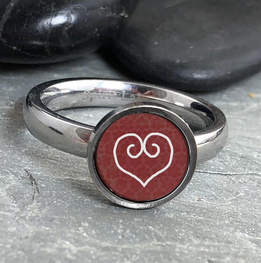 White Heart Stainless Art Ring