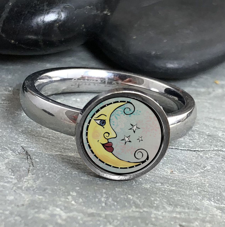 Moon Stainless Art Ring