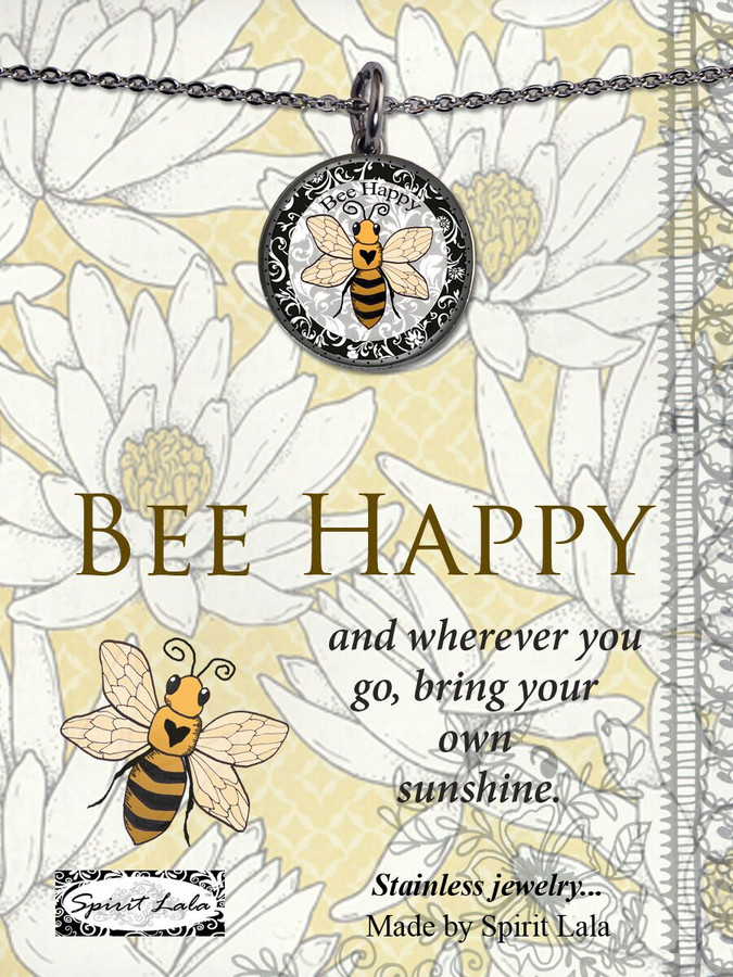 Carded Bee Reversible Medium Circle Necklace