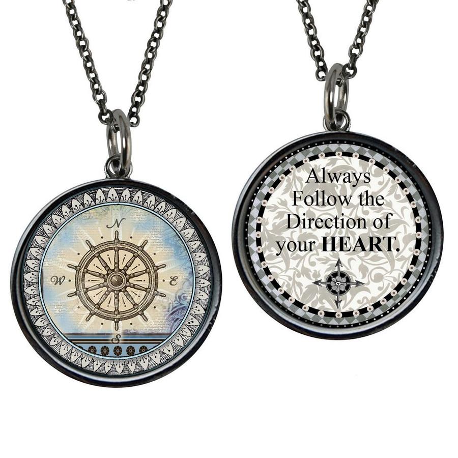 Vintage Compass Reversible Circular Pendant