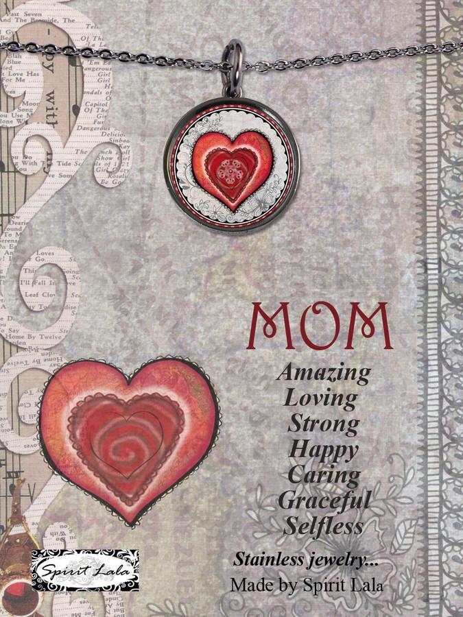 Carded Mom Heart Reversible Medium Circular Necklace