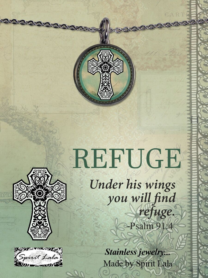 Carded Green Cross Reversible Medium Circular Necklace