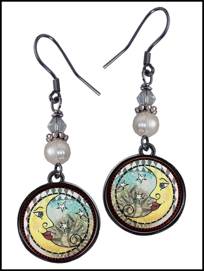 Moon Pearl Beaded Circular Earrings