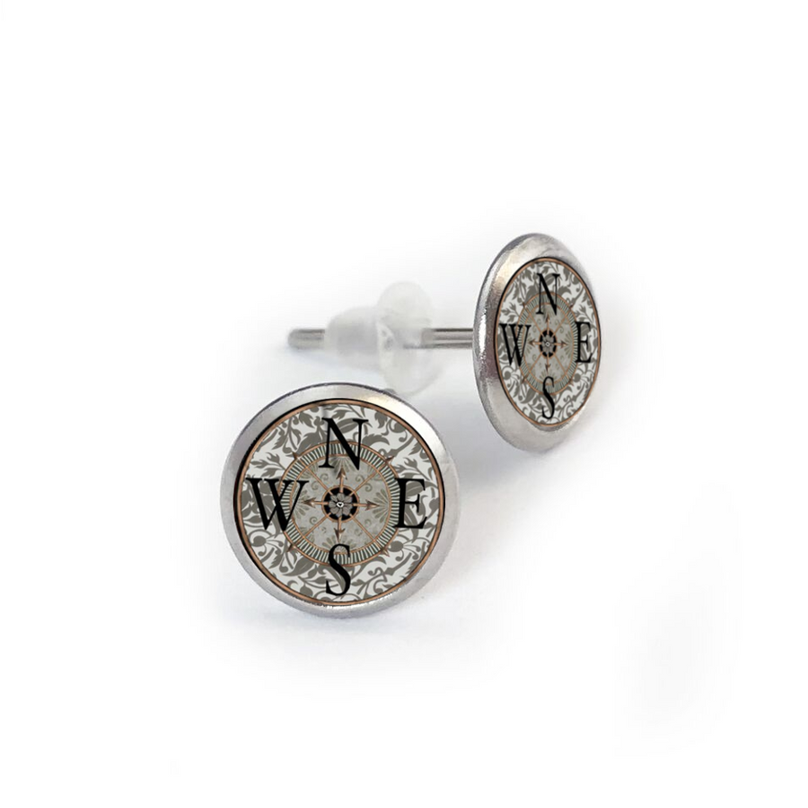 Compass Stainless Stud Earring