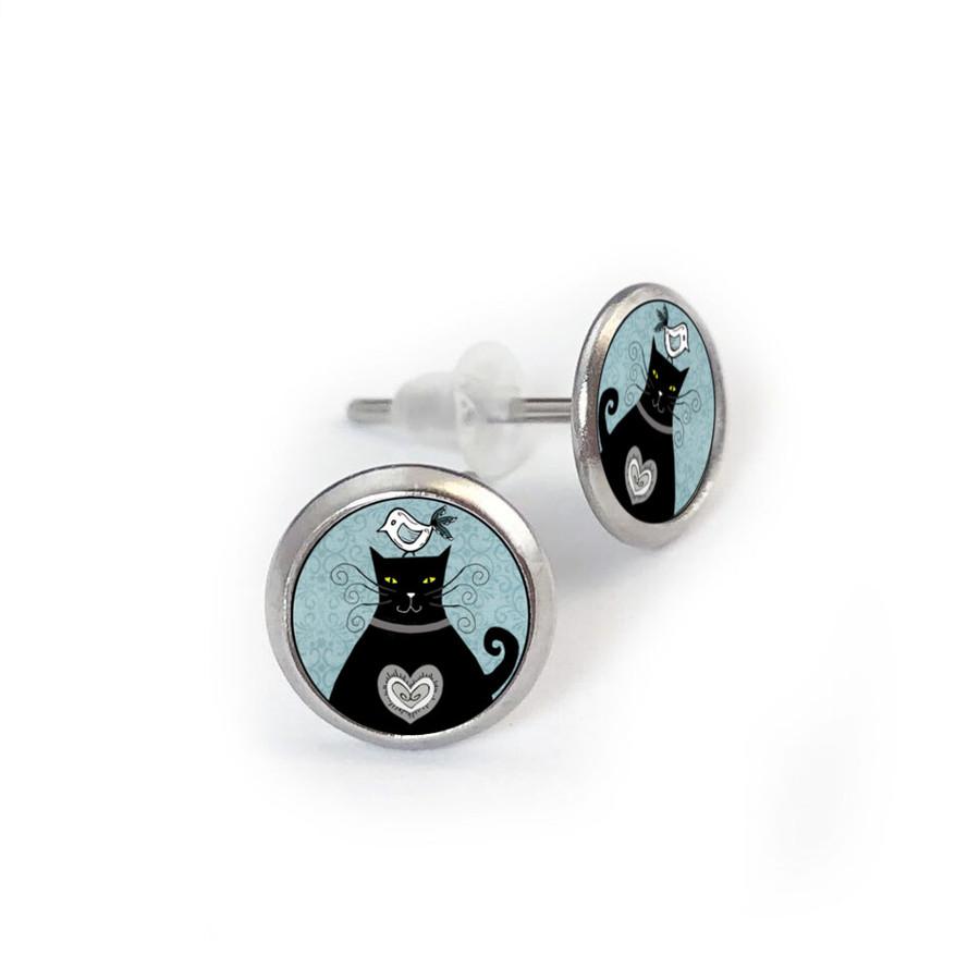 Black White Cat Stainless Stud Earring