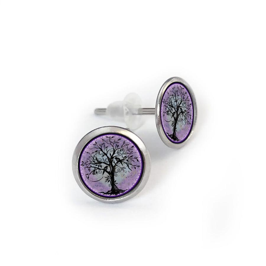 Purple Tree of Life Stainless Stud Earring