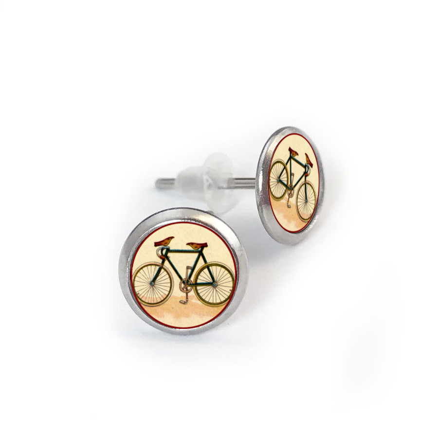 Vintage Bike Stainless Stude Earring