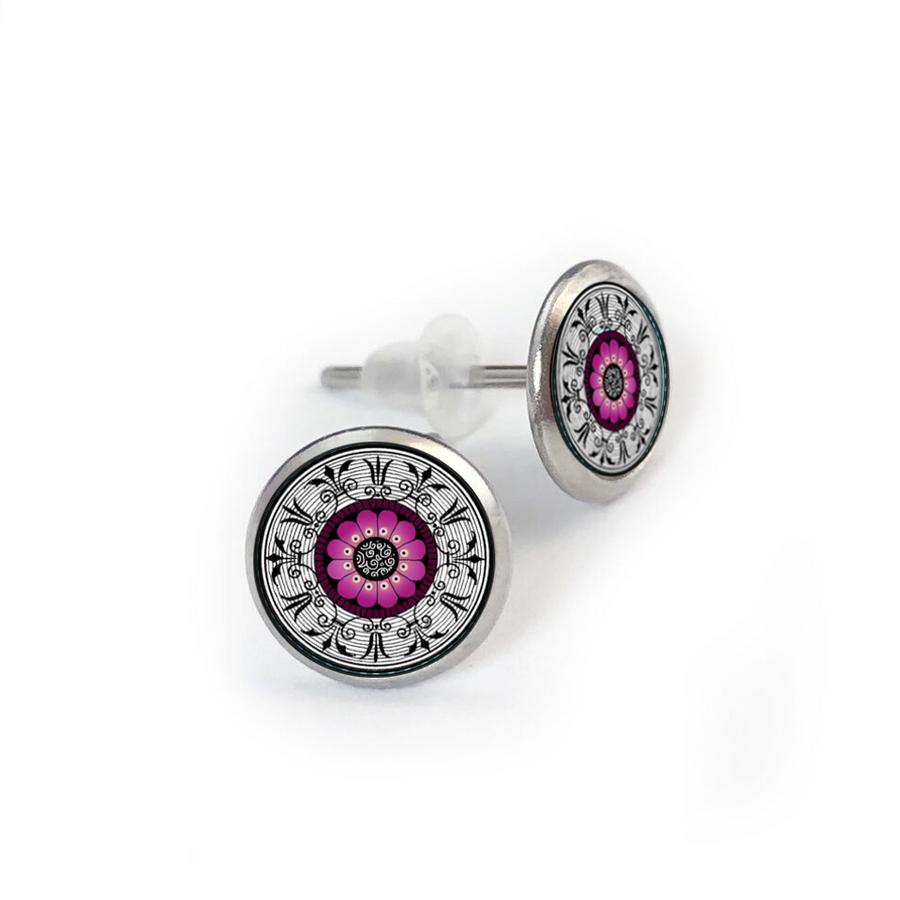 Fushia Medallion Stainless Stud Earring