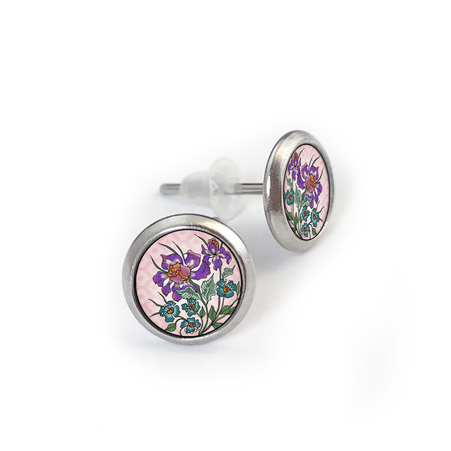 Pink Iris Stainless Stud Earring