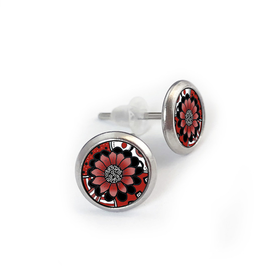 Red Flower Mix Stainless Stud Earring